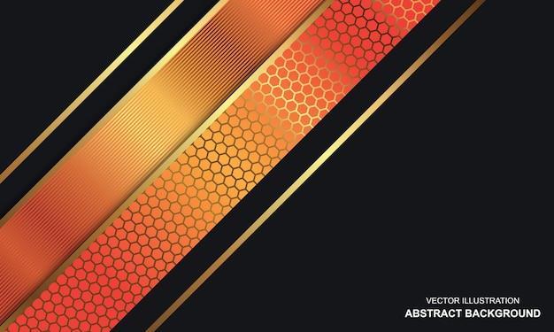 Sfondo astratto nero dop con linee arancioni e dorate design moderno