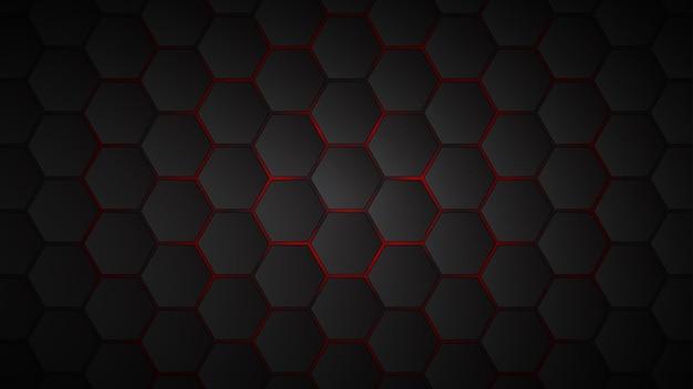 Sfondo astratto di piastrelle esagonali nere con spazi rossi tra di loro