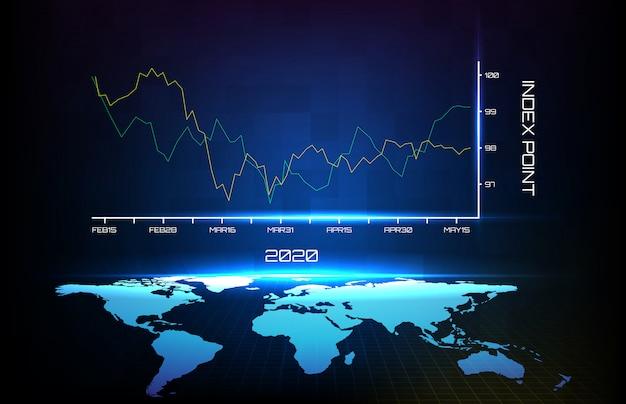 Sfondo astratto del primo trimestre medio blu nel grafico dell'anno 2020 e mappa del mondo