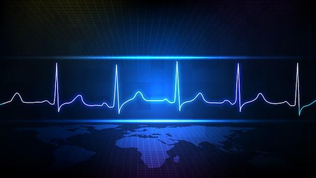 Sfondo astratto di tecnologia futuristica blu digitale ecg battito cardiaco impulso linea monitor d'onda e mappa del mondo