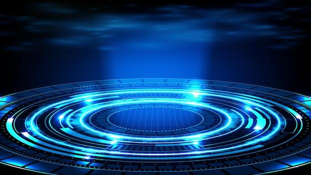 Sfondo astratto di tecnologia futuristica blu interfaccia display hud e fumo