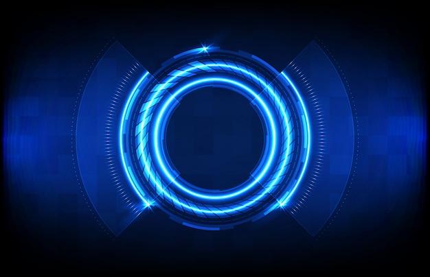 Priorità bassa astratta dell'interfaccia di visualizzazione futuristica blu del hud di tecnologia