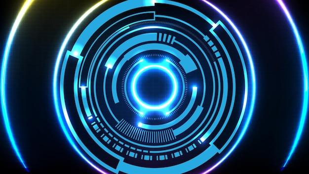 Sfondo astratto di tecnologia futuristica blu interfaccia display hud