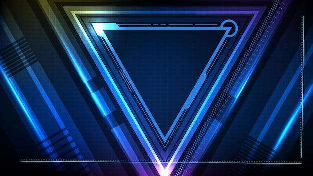 Sfondo astratto di triangolo incandescente blu tecnologia stella sci fi frame hud ui