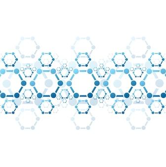 Sfondo astratto della struttura della molecola blu. disegno scientifico vettoriale medico