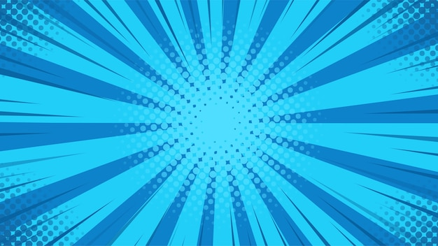 Sfondo astratto. raggi di luce blu si diffondono dal centro in stile fumetto.