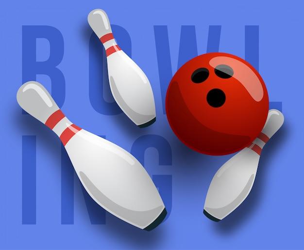 Sfondo astratto bowling testo, pins e palla. il concetto di giochi, intrattenimento, hobby e club per il tempo libero.