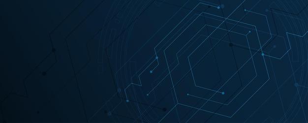 Fondo astratto che collega l'illustrazione esagonale di vettore del fondo dell'innovazione di concetto di comunicazione dell'innovazione