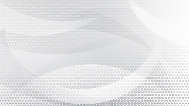 Sfondo astratto di linee curve, curve e punti mezzitoni nei colori bianco e grigio