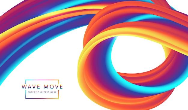 Astratto sfondo dinamico arcobaleno colorato onda fluida 3d linea.