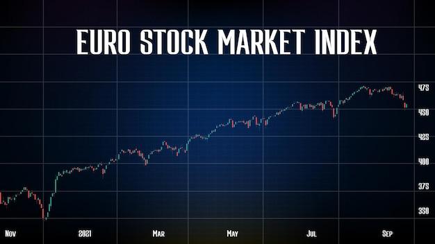Sfondo astratto del grafico della candela dell'indicatore rosso e verde dell'indice del mercato azionario euro