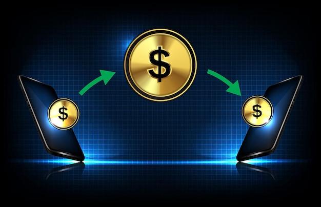 Fondo astratto dei trasferimenti di denaro del telefono astuto del fondo futuristico con la moneta del dollaro