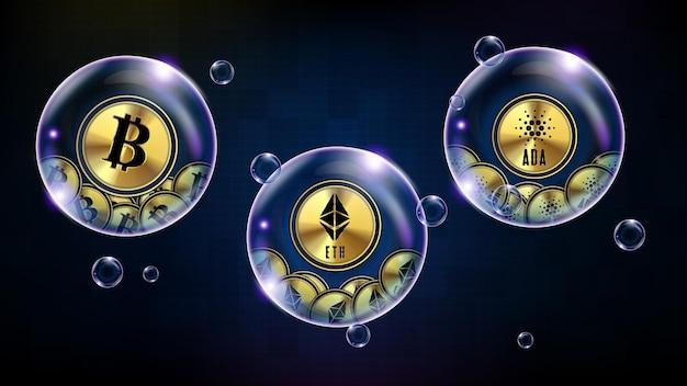 Sfondo astratto di tecnologia futuristica bolla incandescente cryptocurrency bitcoin, ethereum, cardano