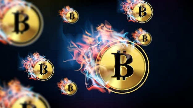 Sfondo astratto della tecnologia futuristica bitcoin di criptovaluta che si scioglie nel fuoco e nel fumo