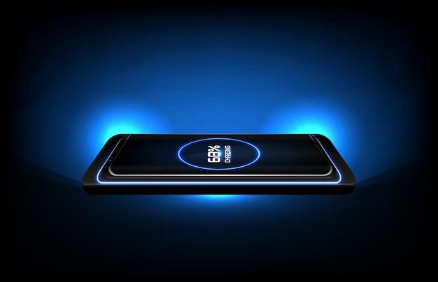 Fondo astratto del supporto senza fili della ricarica rapida di tecnologia futuristica sul telefono cellulare astuto
