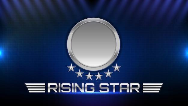Sfondo astratto della stella di metallo incandescente e testo del segno della stella in aumento