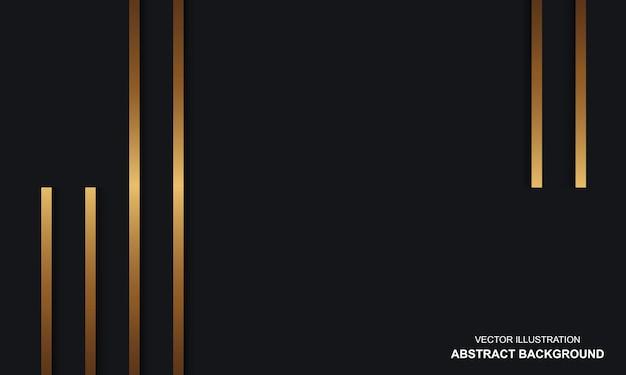 Sfondo astratto nero di lusso dop con linee dorate design moderno
