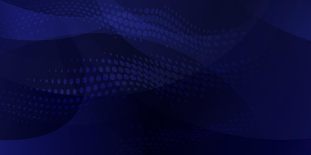 Sfondo astratto fatto di punti mezzatinta e linee curve in colori blu scuro