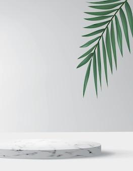 Sfondo astratto in stile minimal con piattaforma in marmo. podio realistico vuoto per vetrina di prodotti cosmetici con palma