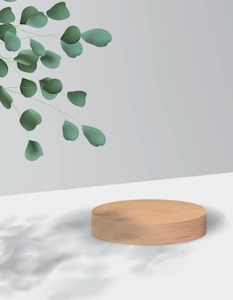 Sfondo astratto in stile minimalista con piattaforma in legno. podio realistico vuoto per dimostrazione del prodotto con pianta