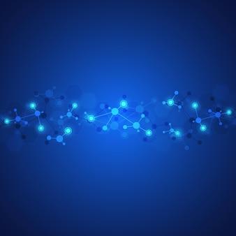 Sfondo astratto di strutture molecolari. molecole o filamento di dna, ingegneria genetica, rete neurale, tecnologia dell'innovazione, ricerca scientifica. concetto tecnologico, scientifico e medico.