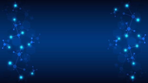 Sfondo astratto di strutture molecolari molecole o ingegneria genetica del filamento di dna