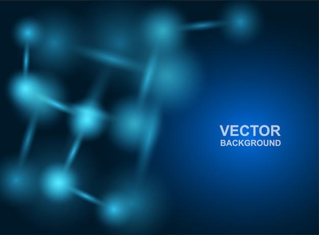 Sfondo astratto. progettazione di molecole. atomi. sfondo medico o scientifico. struttura molecolare con particelle sferiche blu.
