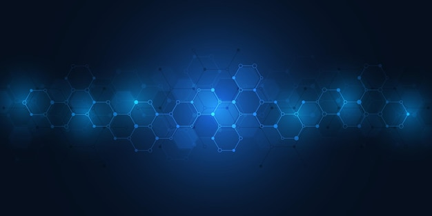 Sfondo astratto di molecole. strutture molecolari o ingegneria chimica, ricerca genetica, innovazione tecnologica. concetto scientifico, tecnico o medico.