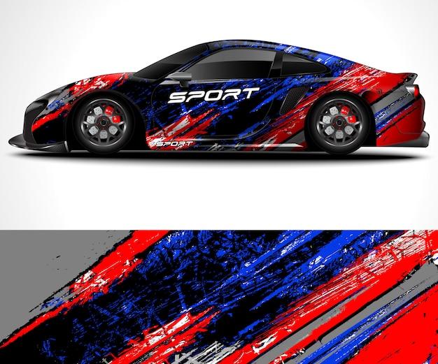 Sfondo astratto per la corsa di auto sportive avvolgimento design e livrea del veicolo