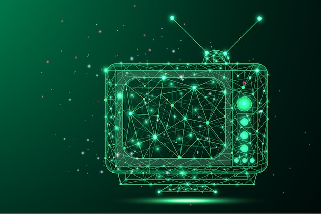 Priorità bassa astratta di una retro tv - bassa struttura poligonale del filo