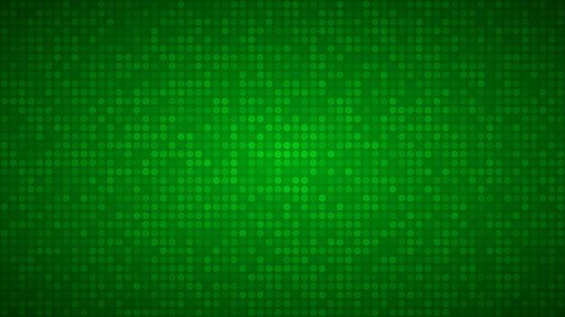 Sfondo astratto di piccoli cerchi o pixel nei colori verdi.