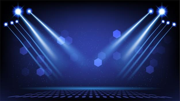 Fase di sfondo astratto con luci sceniche dell'interfaccia utente di tecnologia futuristica rotonda