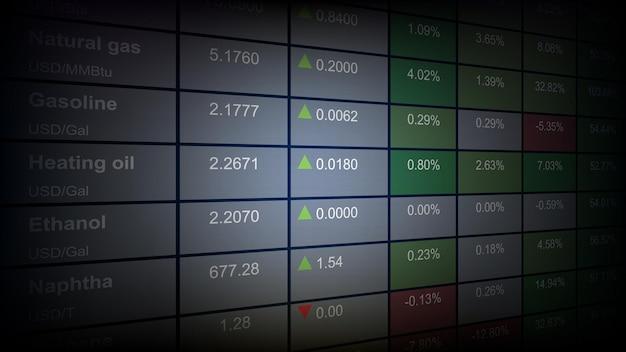 Sfondo astratto del mercato azionario la tabella dell'indice dei prezzi economici delle materie prime