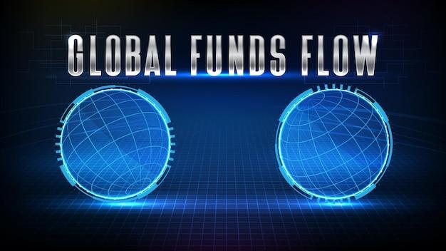 Sfondo astratto del flusso di fondi globali del mercato azionario e globo del mondo