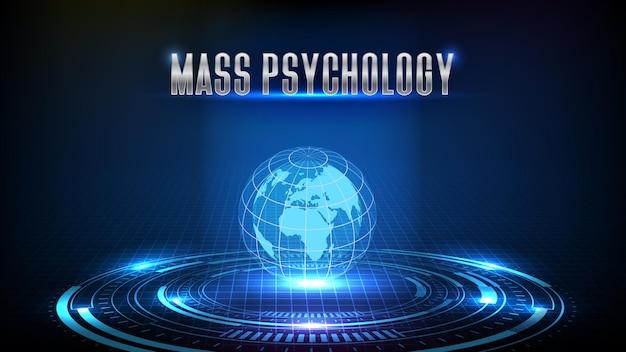Fondo astratto della psicologia di massa del mercato azionario che commercia con lo schermo dell'interfaccia utente del hud della terra del globo