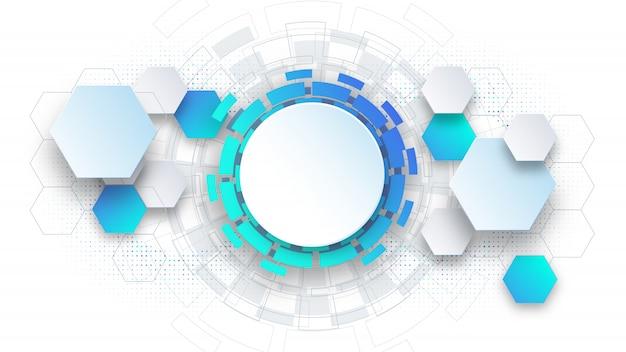 Presentazione astratta di scienza e tecnologia del modello del fondo, forma esagonale con colore blu e morbido.