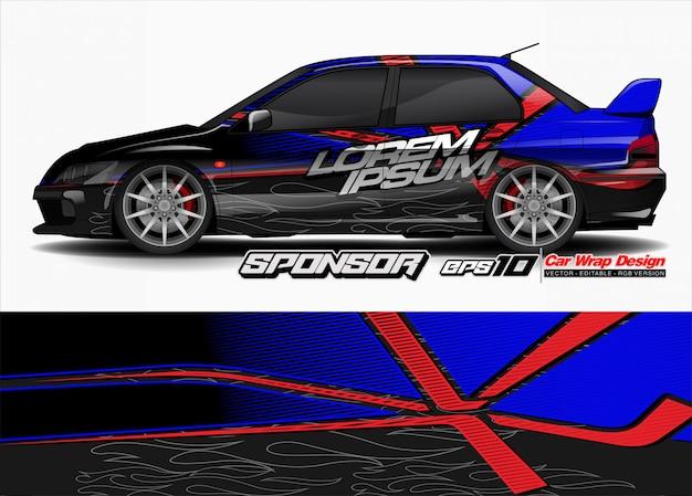 Vettore astratto per la progettazione dell'involucro della vettura da corsa e la livrea del veicolo