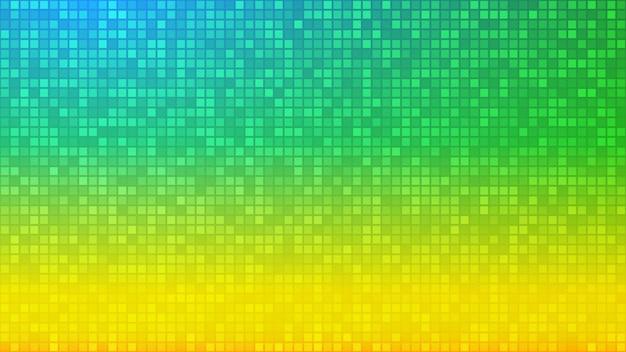 Sfondo astratto di piccoli quadrati o pixel nei colori giallo e verde.