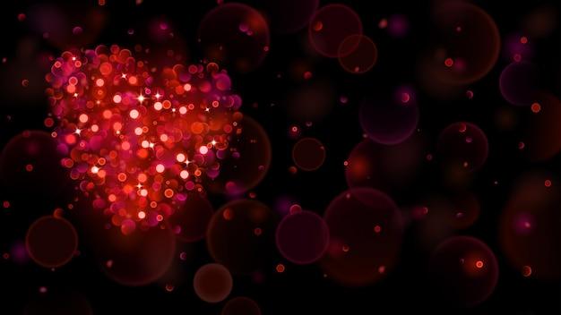 Sfondo astratto con grande cuore rosso con effetto bokeh. cuore di luci sfocate sfocate nei colori rossi. cuore rosso di luci bokeh con scintillii.