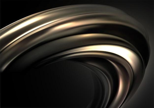 Sfondo astratto con onda 3d oro nero