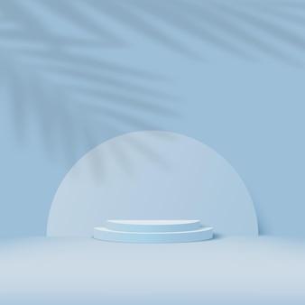 Fondo astratto con il podio geometrico 3d di colore blu e l'ombra della palma