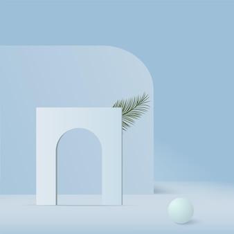 Fondo astratto con il podio geometrico 3d di colore blu.