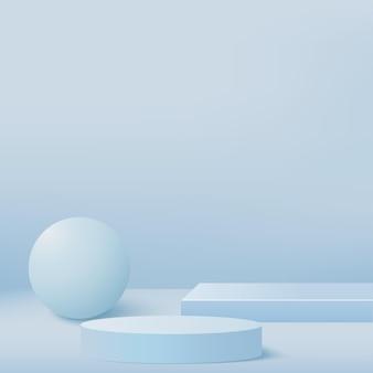 Sfondo astratto con podi 3d geometrici di colore blu. illustrazione.