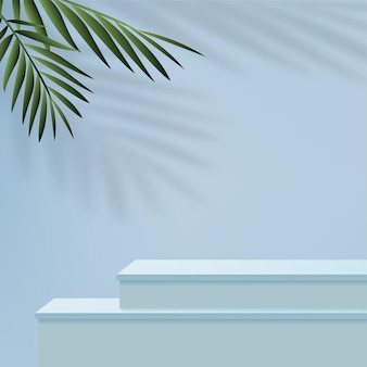 Fondo astratto con i podi geometrici 3d di colore blu. illustrazione vettoriale.