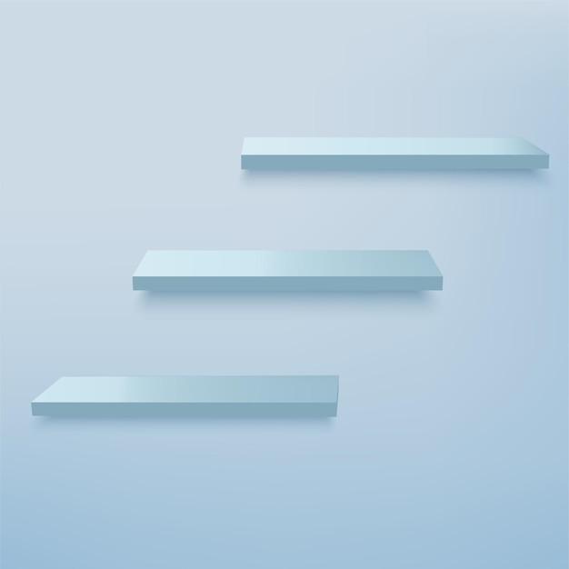 Sfondo astratto con podi 3d geometrici di colore blu
