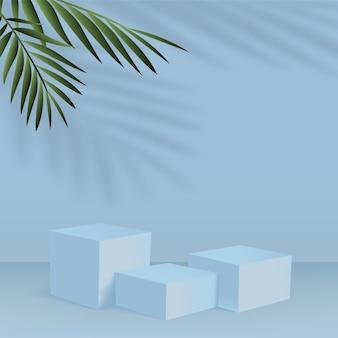 Fondo astratto con i podi geometrici 3d di colore blu.