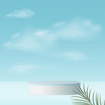 Fondo astratto con il podio geometrico del cielo 3d di colore blu.