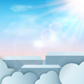 Fondo astratto con i podi geometrici del cielo 3d di colore blu.