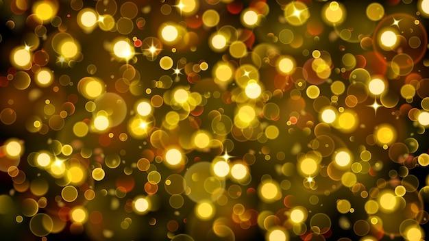 Sfondo astratto con effetto bokeh luci sfocate sfocate in colori oro Vettore Premium