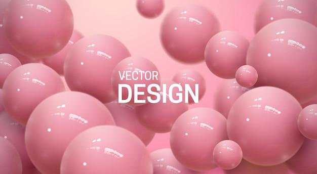 Sfondo astratto con sfere 3d rosa rimbalzanti